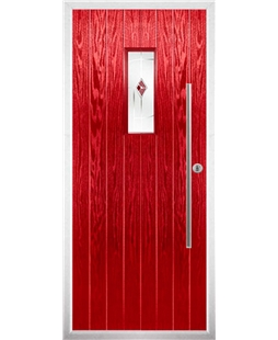 The Zetland Composite Door in Red with Red Murano