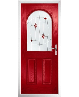The Edinburgh Composite Door in Red with Red Murano