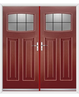 Newark French Rockdoor in Ruby Red with Square Lead