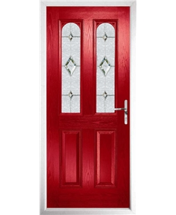 The Aberdeen Composite Door in Red with Crystal Diamond