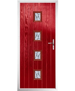 The Uttoxeter Composite Door in Red with Zinc Art Abstract
