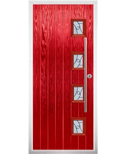 The Norwich Composite Door in Red with Zinc Art Abstract
