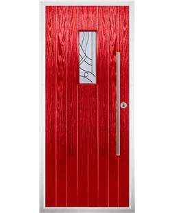The Zetland Composite Door in Red with Zinc Art Abstract
