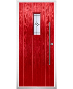 The Zetland Composite Door in Red with Zinc Art Elegance