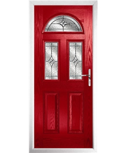 The Glasgow Composite Door in Red with Zinc Art Elegance