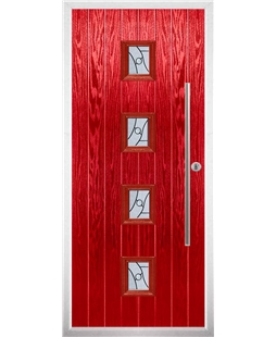 The Leicester Composite Door in Red with Zinc Art Abstract