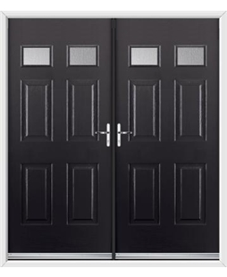 Regency French Rockdoor in Onyx Black with Glazing