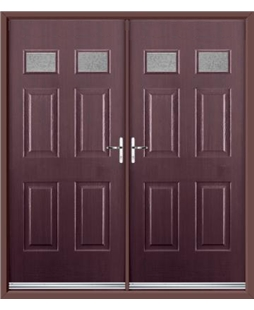 Regency French Rockdoor in Rosewood with Gluechip Glazing