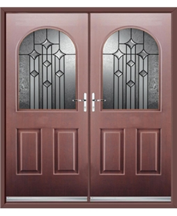 Kentucky French Rockdoor in Rosewood with Aquarius Glazing
