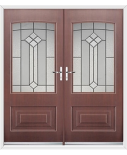 Portland French Rockdoor in Rosewood with Beacon
