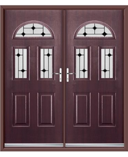Tennessee French Rockdoor in Rosewood with Black Diamonds