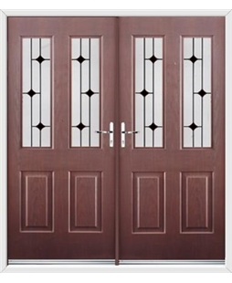 Jacobean French Rockdoor in Rosewood with Black Diamonds