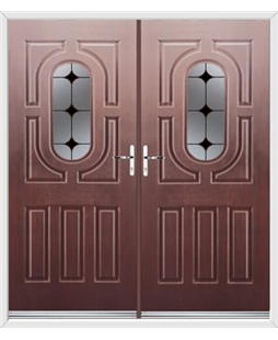 Arcacia French Rockdoor in Rosewood with Black Diamonds