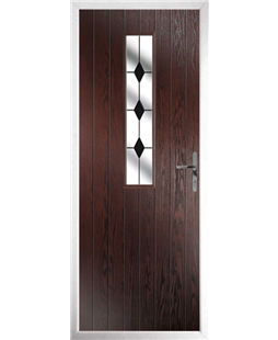 The Sheffield Composite Door in Rosewood with Black Diamonds