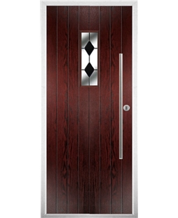 The Zetland Composite Door in Rosewood with Black Diamonds