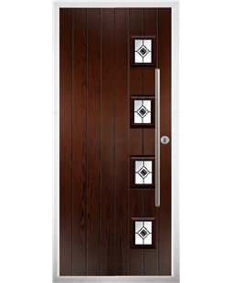 The Norwich Composite Door in Rosewood with Black Fusion Ellipse