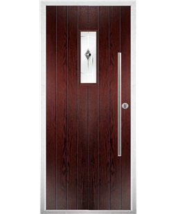 The Zetland Composite Door in Rosewood with Black Murano