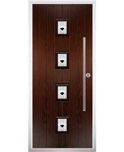 The Leicester Composite Door in Rosewood with Black Murano