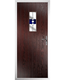 The Taunton Composite Door in Rosewood with Blue Crystal Bohemia