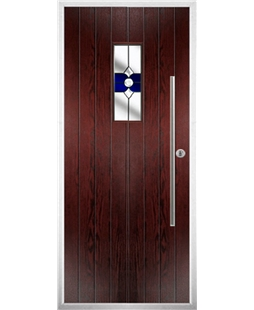 The Zetland Composite Door in Rosewood with Blue Crystal Bohemia