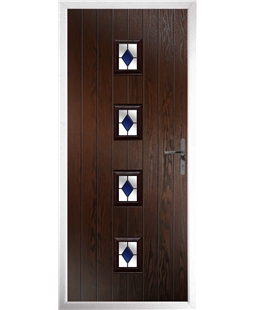 The Uttoxeter Composite Door in Rosewood with Blue Diamonds