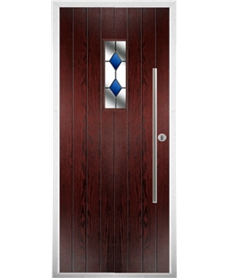 The Zetland Composite Door in Rosewood with Blue Diamonds