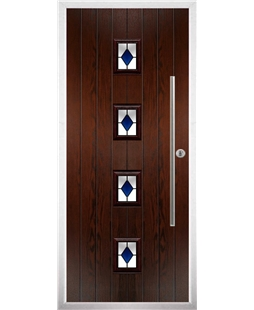 The Leicester Composite Door in Rosewood with Blue Diamonds