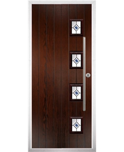 The Norwich Composite Door in Rosewood with Blue Fusion Ellipse
