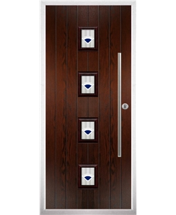 The Leicester Composite Door in Rosewood with Blue Murano