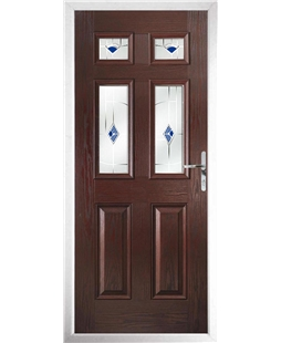 The Oxford Composite Door in Rosewood with Blue Murano