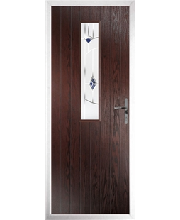 The Sheffield Composite Door in Rosewood with Blue Murano