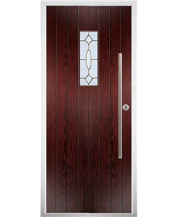 The Zetland Composite Door in Rosewood with Brass Art Clarity