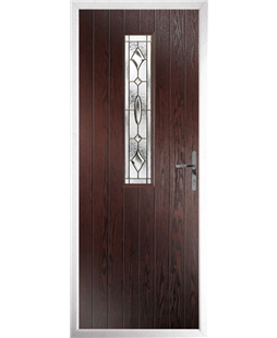 The Sheffield Composite Door in Rosewood with Brass Art Clarity