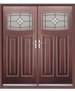 Newark French Rockdoor in Rosewood with Bright Star Glazing