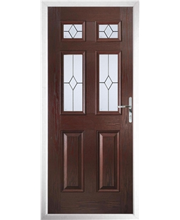 The Oxford Composite Door in Rosewood with Classic Glazing