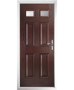The Ipswich Composite Door in Rosewood with Clear Glazing