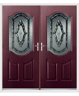 Georgia French Rockdoor in Rosewood with Constellation Glazing