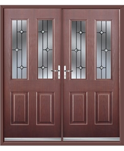 Jacobean French Rockdoor in Rosewood with Crystal Bevel