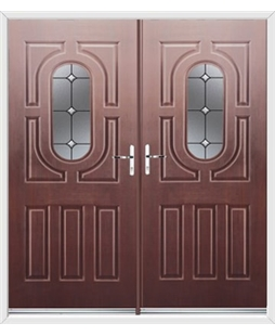 Arcacia French Rockdoor in Rosewood with Crystal Bevel