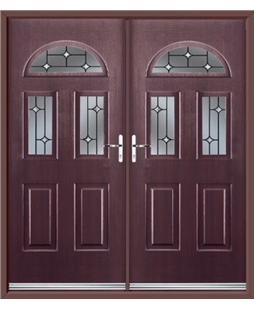 Tennessee French Rockdoor in Rosewood with Crystal Bevel