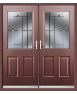 Windsor French Rockdoor in Rosewood with Crystal Bevel