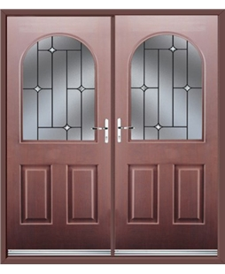 Kentucky French Rockdoor in Rosewood with Crystal Bevel