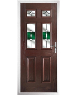 The Oxford Composite Door in Rosewood with Green Crystal Bohemia