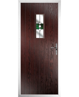 The Taunton Composite Door in Rosewood with Green Crystal Bohemia