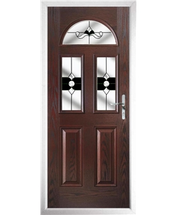 The Glasgow Composite Door in Rosewood with Black Crystal Bohemia