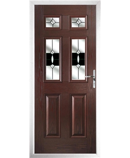 The Oxford Composite Door in Rosewood with Black Crystal Bohemia