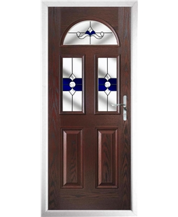 The Glasgow Composite Door in Rosewood with Blue Crystal Bohemia