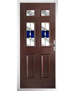 The Oxford Composite Door in Rosewood with Blue Crystal Bohemia