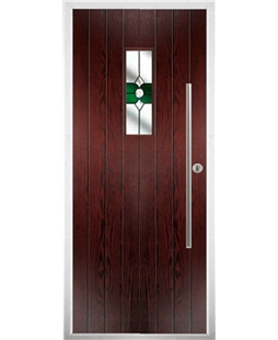 The Zetland Composite Door in Rosewood with Green Crystal Bohemia