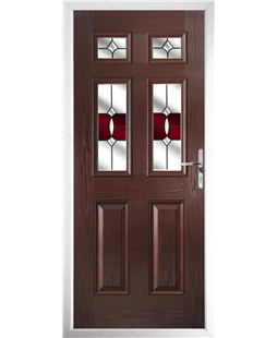 The Oxford Composite Door in Rosewood with Red Crystal Bohemia